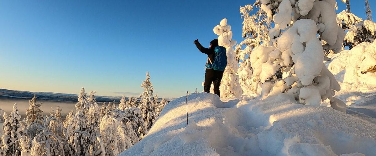 Widok w zimowej scenerii. Szwecja.